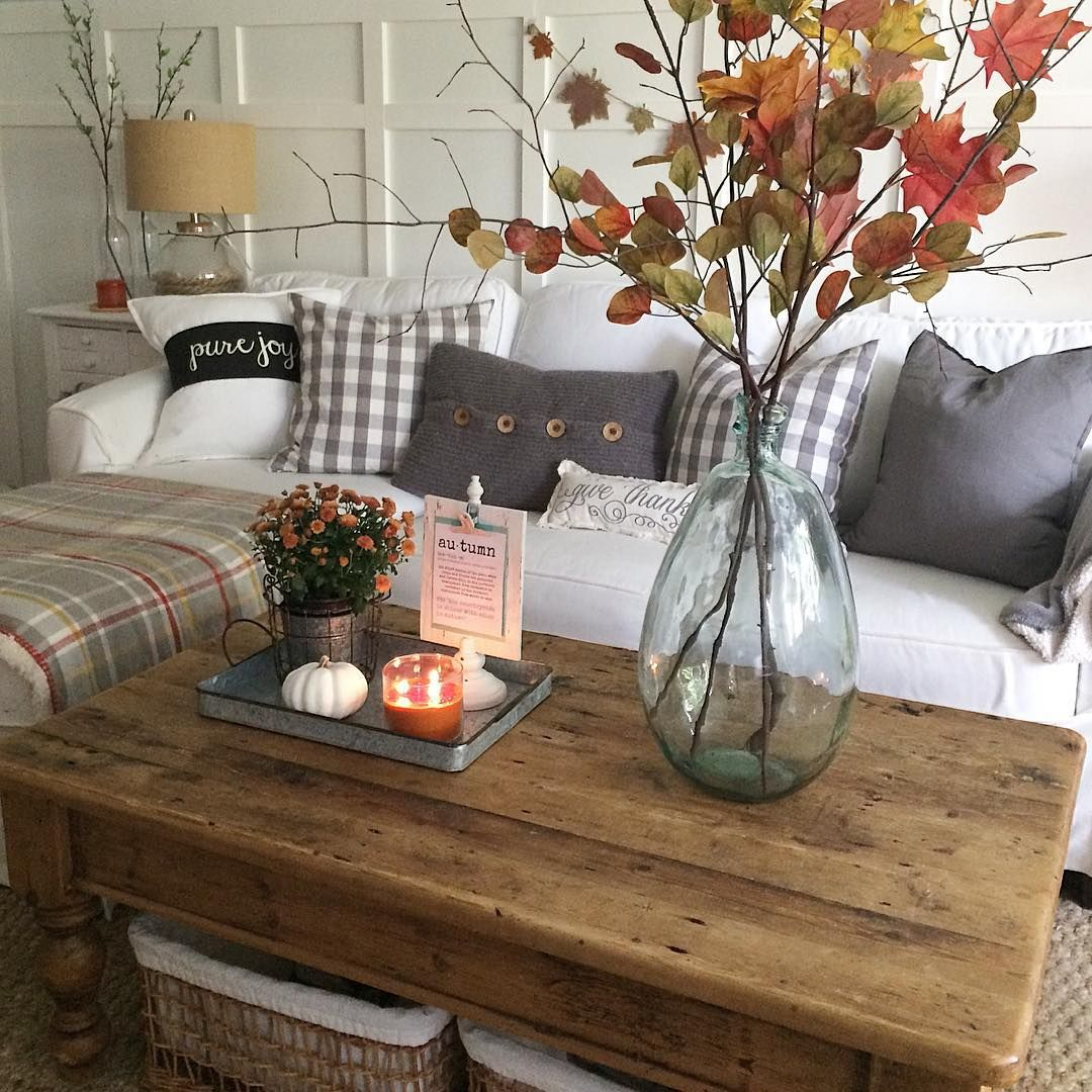 Simple Coffee Table Decor Simple Fall Decorating With Autumn Branches And Leaves In
