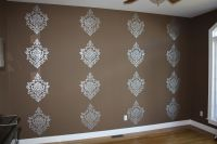 Stenciled metallic Damask accent wall   Classic Fauxs ...
