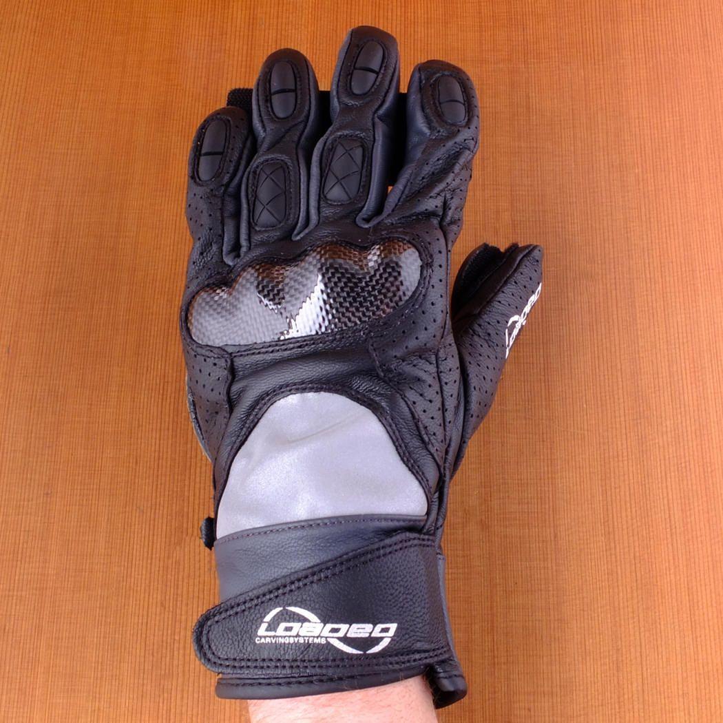 Loaded leather black race slide gloves