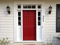 Our red door! Sherwin Williams Wild Current in satin. In ...