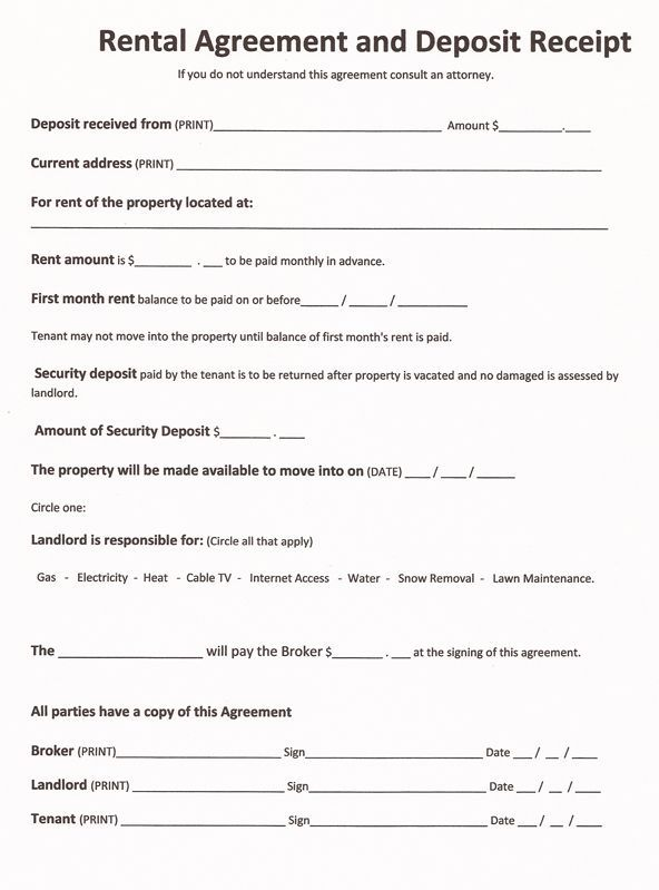 Printable Sample Free Printable Rental Agreements Form Real - free tenant agreement