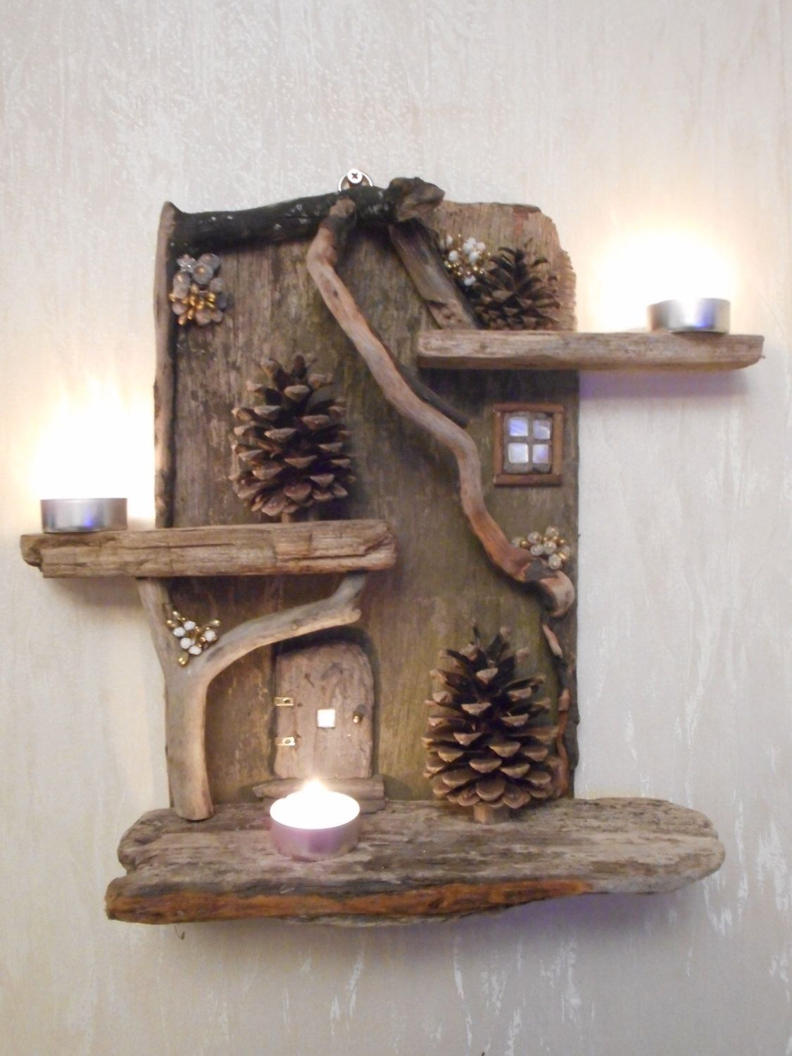 Zelfmaak Ideetjes Hout Beautiful Driftwood Fairy House Candle Display By