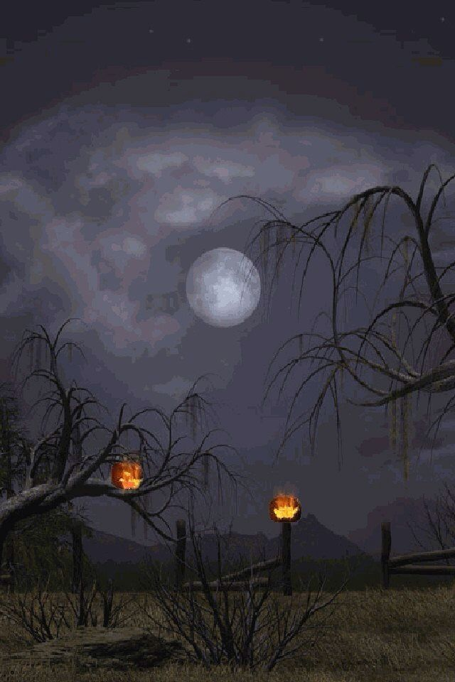 Free Fall Themed Desktop Wallpaper Upon Halloween Night Such A Creepy Eerie Sight Happy