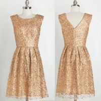 Gorgeous Bridesmaid Dress -Gold A-Line Scoop Knee-Length ...