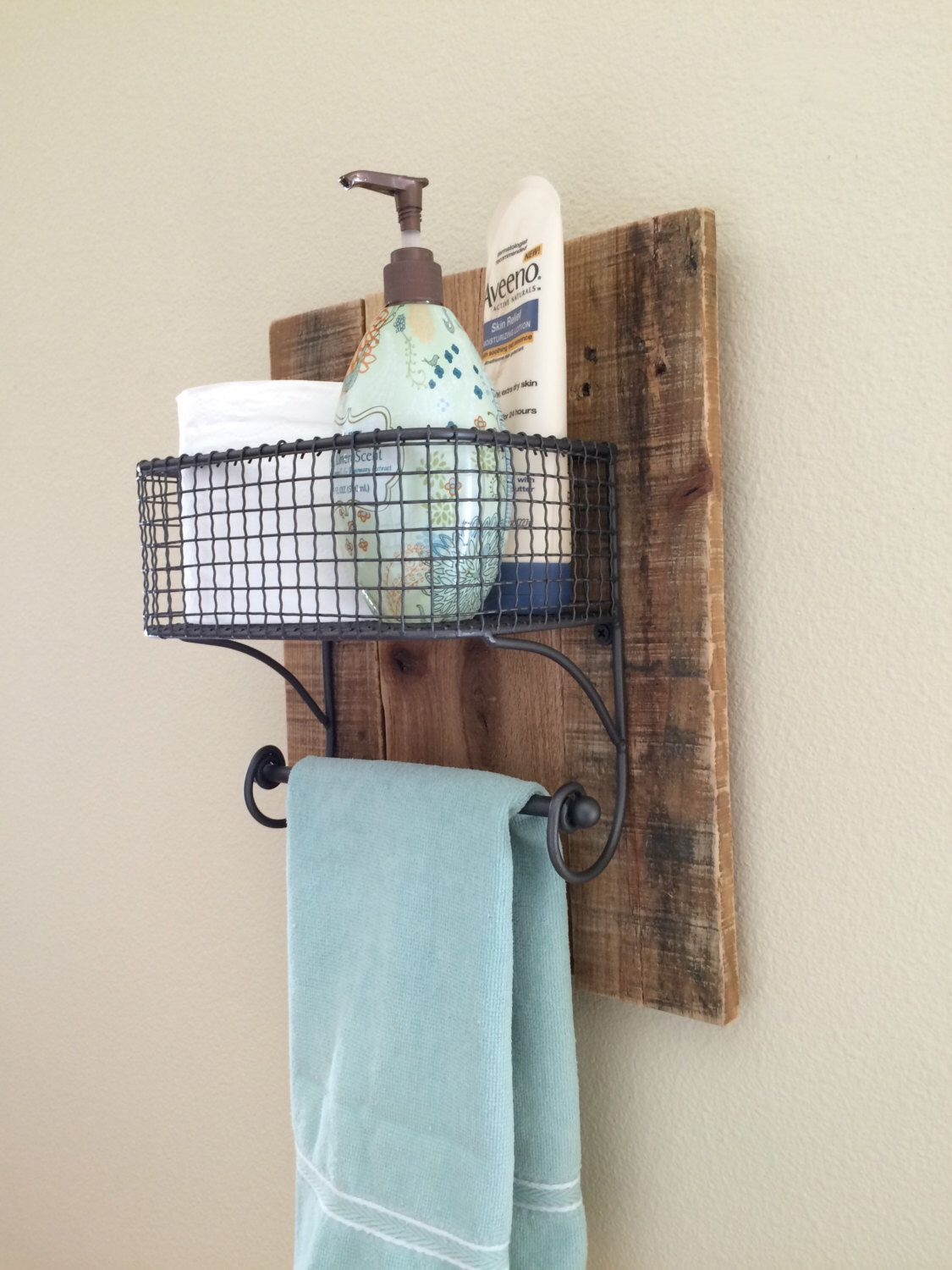 Farmhouse Hand Towel Holder Rustic Hand Towel Bathroom Organizer Rack On Natural