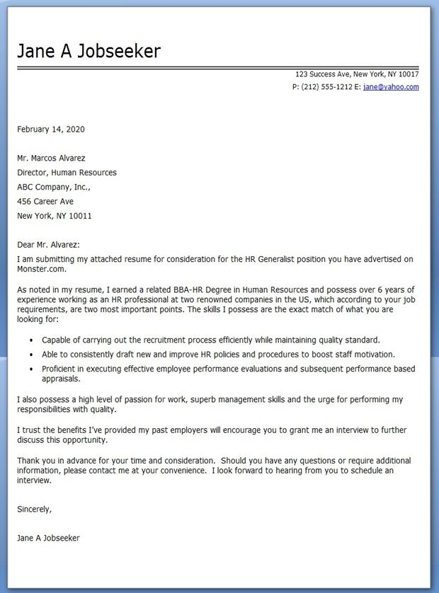 HR Generalist Cover Letter Examples Creative Resume Design - hr generalist resumes