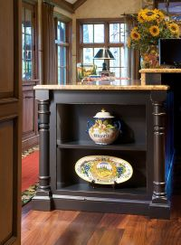 Kitchen island with open end shelves | Moldings ...