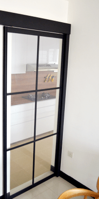 black powder coated aluminium frame kitchen sliding door