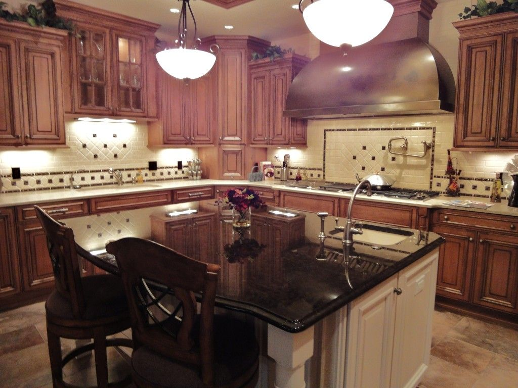 Wood Kitchen Cabinets With Painted Island Cherrywood Cabinets Dark Granite White Island Cherry