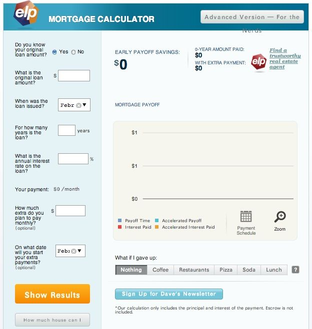 Dave Ramseyu0027s mortgage calculator - run what-ifs to figure out how - mortgage calculator template