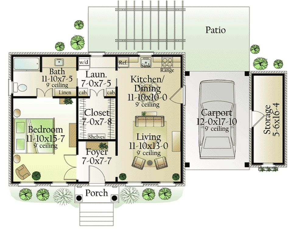 Plan 62123V Bedroom small, Small house plans and Smallest house - one bedroom house plans