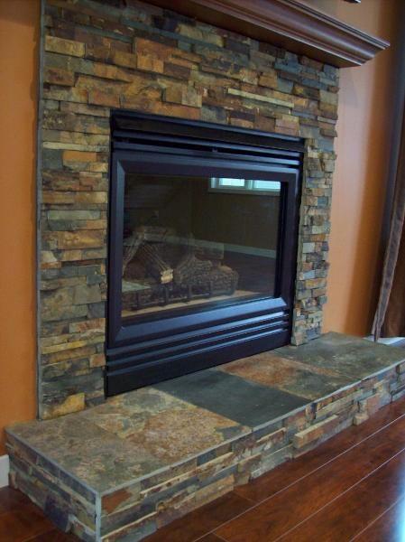 slate tile on fireplace