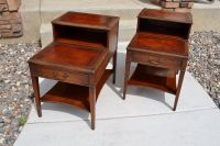 Set of Vintage Mahogany Leather Top Step End Tables and ...
