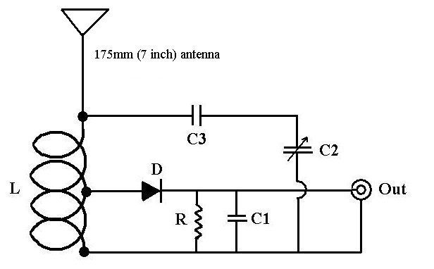 crystal set radio circuit