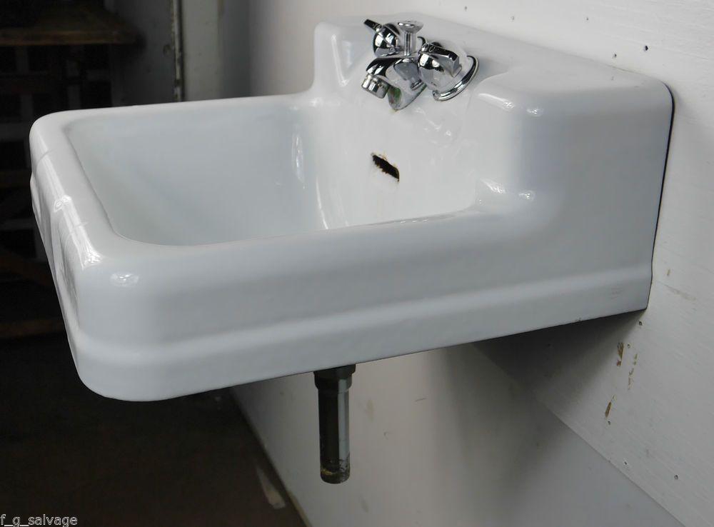 Antique Vintage Crane Bathroom Sink Wall Hung Cast Iron