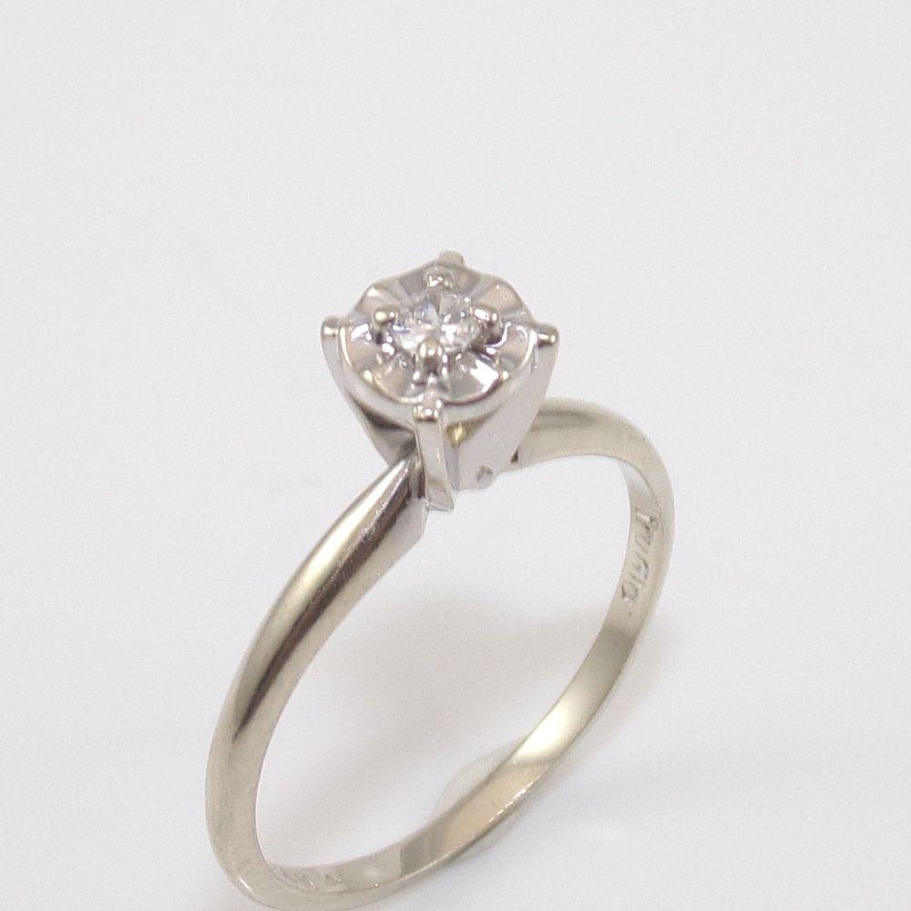 wedding ring TruGlo 14K White Gold Natural Diamond Wedding Engagement Ring Size 5