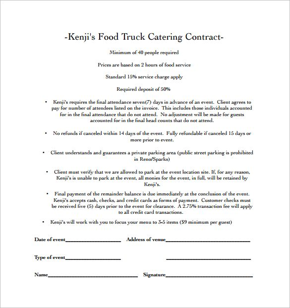 Food Truck Catering Contract PDF Free Download Catering - catering contract template