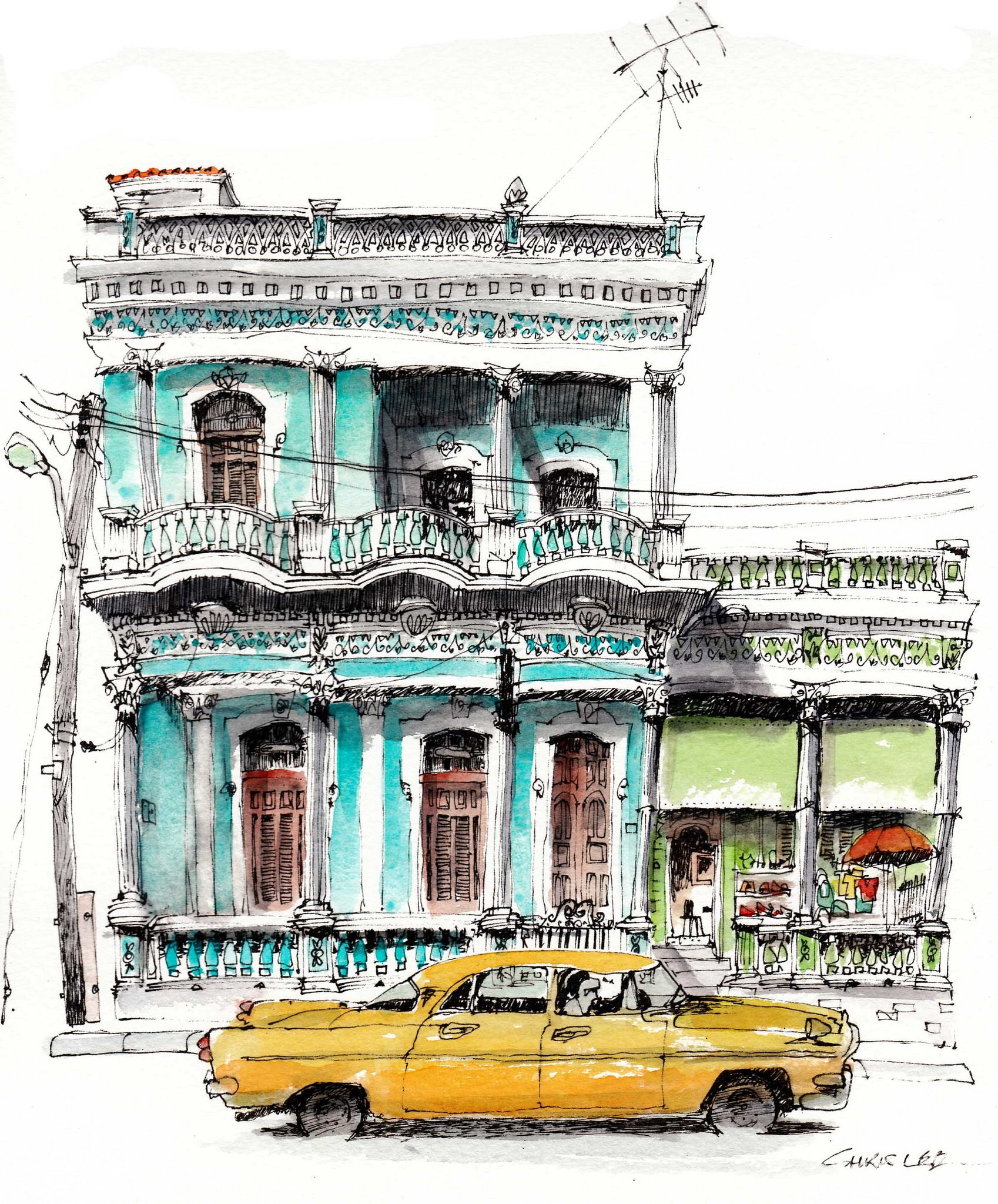 Architectual Illustrations Cienfuegos Cuba By Chris Lee Urban Sketchers Pinterest