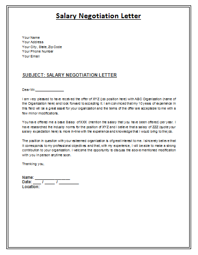 job offer negotiation letter