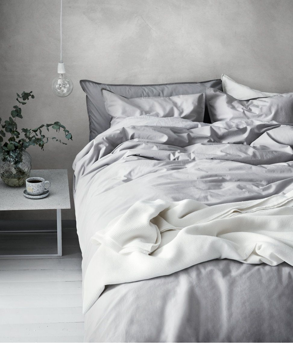 Home Ideas Bettwäsche Bettwäsche Doppelbett Hellgrau H M Home H M De Interiors