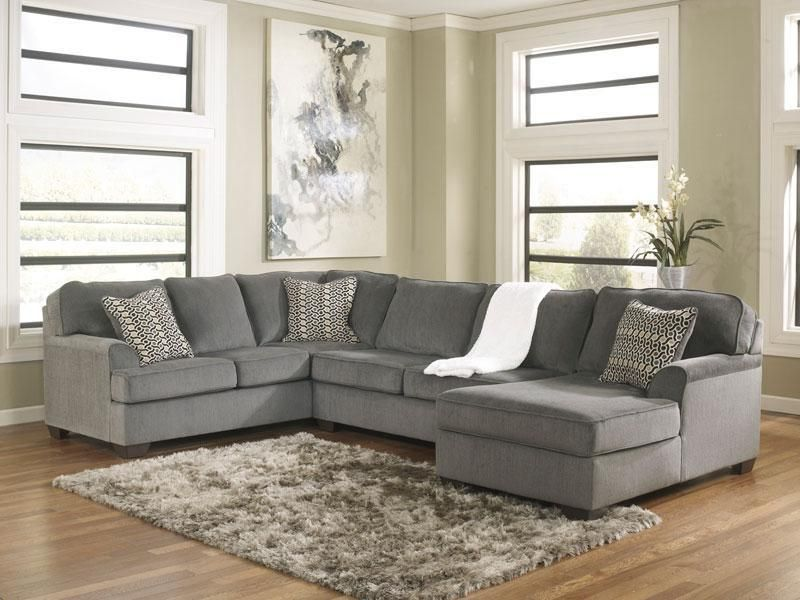 SOLE-Oversized Modern Gray Fabric Sofa Couch Sectional Set Living - gray living room furniture sets