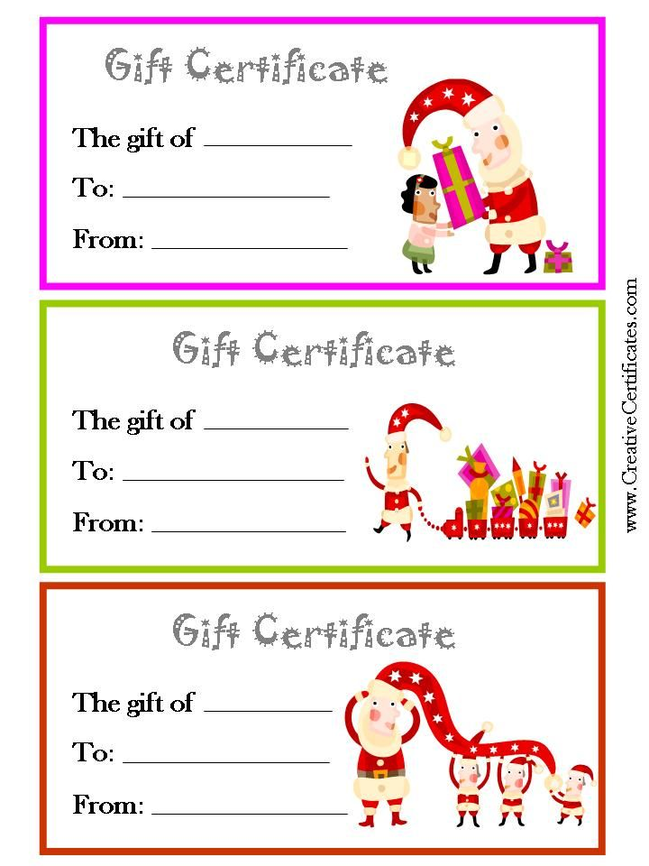 3 printable Christmas gift certificate templates on one page each - free printable christmas gift certificate