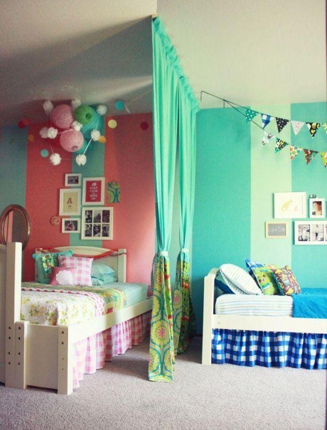 raumteiler-kinderzimmer-vorhang-geschwister-maedchen-junge-rosa - kinderzimmer blau mdchen