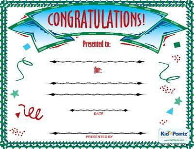 Congratulations Award Kid Pointz Elementary PE Pinterest - printable congratulations certificate