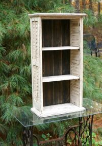Repurposed Shutter Bookcase Shelves Distressed by ...