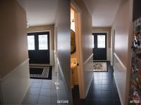 painted tile floor using B-I-N primer and Behr concrete ...