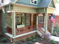 Exterior. white wooden porch with stair and brown wooden ...