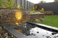 House, Contemporary Water Garden Design For Modern Outdoor