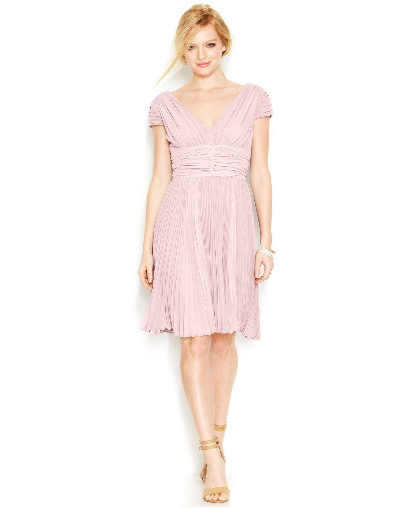 macys wedding guest dresses Betsey Johnson Cap Sleeve Ruched Pleated Dress Dresses Women Macy s