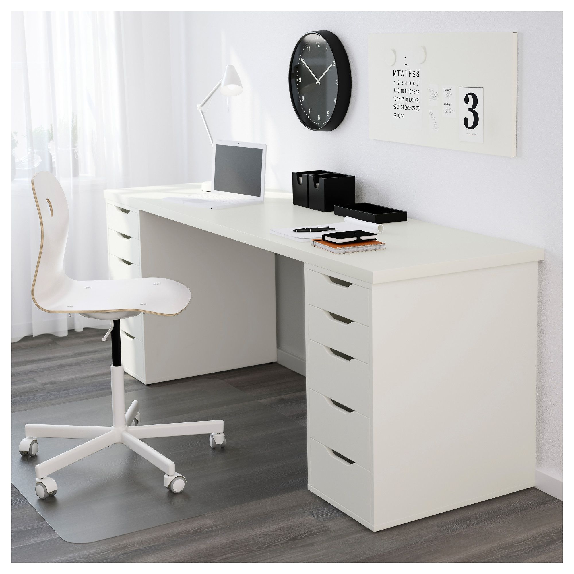 Long Desk Ideas Linnmon Table Top White Legs And Spaces