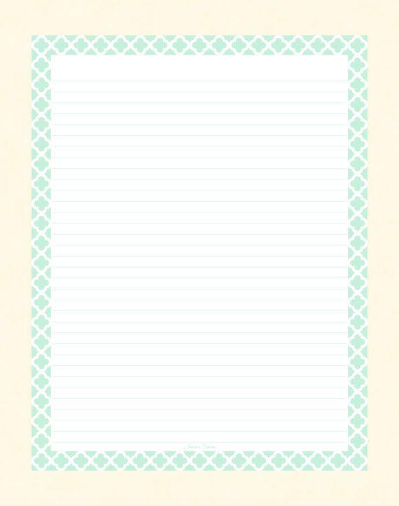 Mint Quatrefoil Border Lined Paper by JeniciasFancies, - $200 - lined border paper