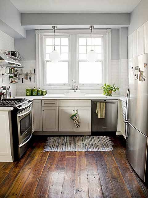 27 Space-Saving Design Ideas For Small Kitchens Barn wood floors - kitchen remodel ideas for small kitchen