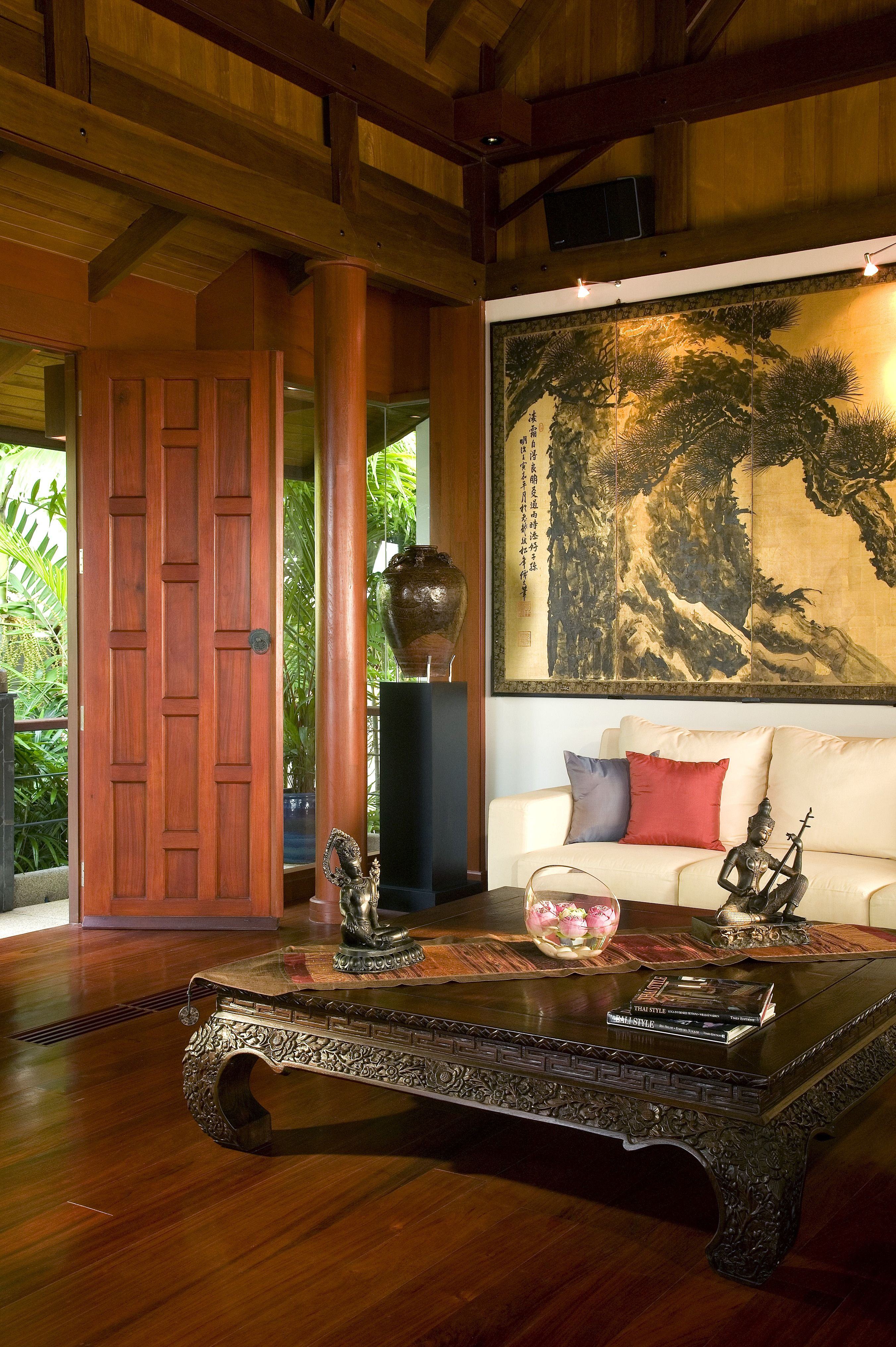 Thai Decorating Ideas An Asian Style Living Room With A Tall Stained Wood
