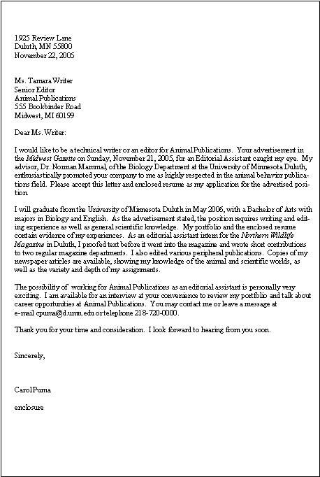 A good cover letter for a Technical Writer position Cover - good cover letters for resume
