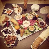 Fruit and cheese platter at my rustic dinner party. Brie ...