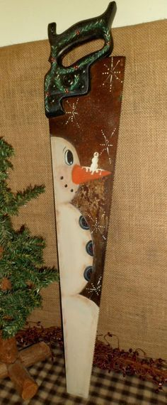 Primitive wood vintage hand saw hand painted snowman christmas - primitive christmas decorations