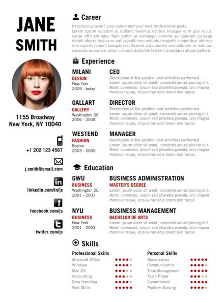 Find the Red Creative Resume Template on wwwcvfolio MY LIL - artistic resume templates