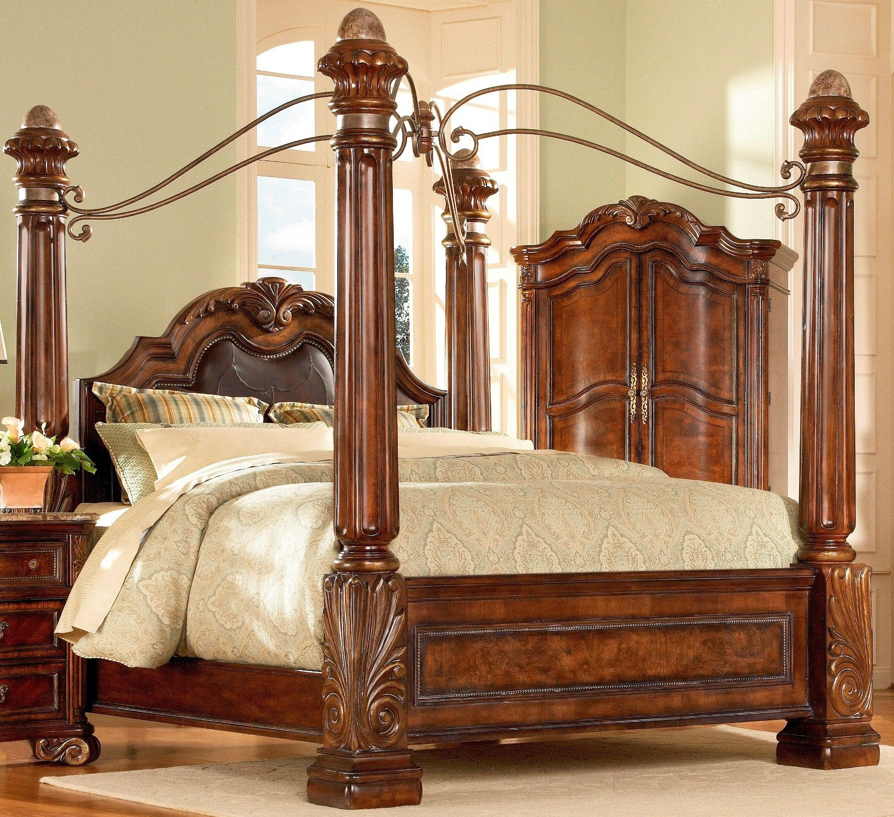 Wood Four Poster Beds Four Poster Bedroom Sets Art Regal Poster Bedroom Set