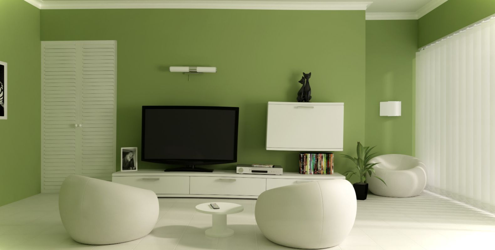 White Wall Living Room Beautiful Small Living Room Design With Green Wall Paint