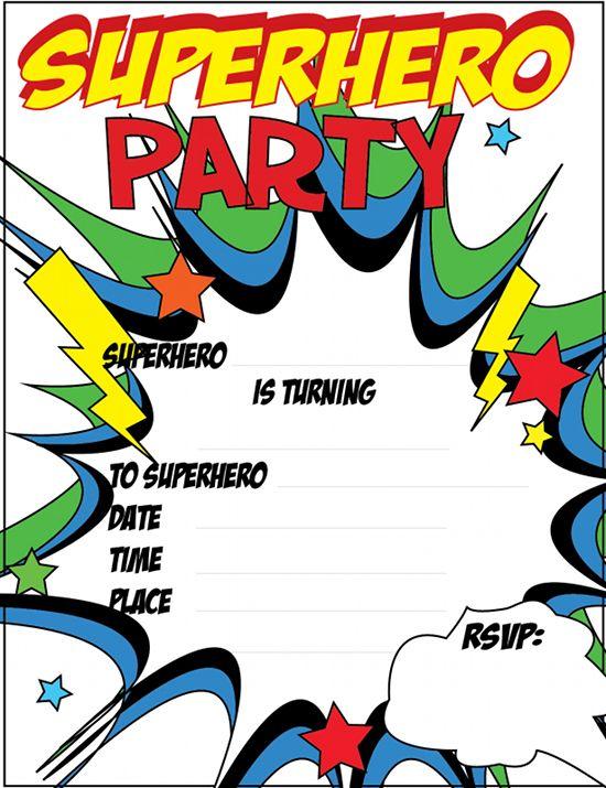 FREE printable Superhero Party Invitations Just Click and - free birthday invitations to print
