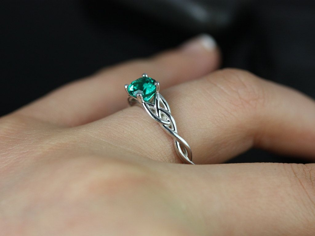 celtic engagement rings irish wedding band Cassidy 6mm 14kt White Gold Round Emerald Celtic Knot Engagement Ring Other Metals and Stone Options Available