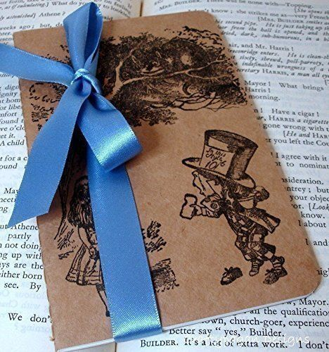 Alice in Wonderland Notebook\/ Alice and Mad Hatter Small - lined paper to type on