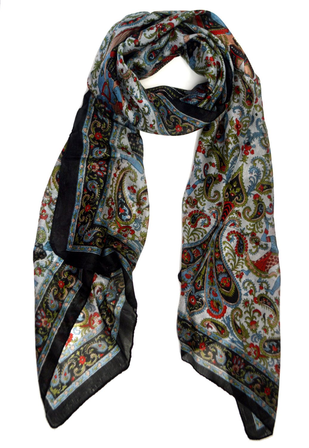 Paisley Silk Scarf,Black blue and red wrap,100% Silk