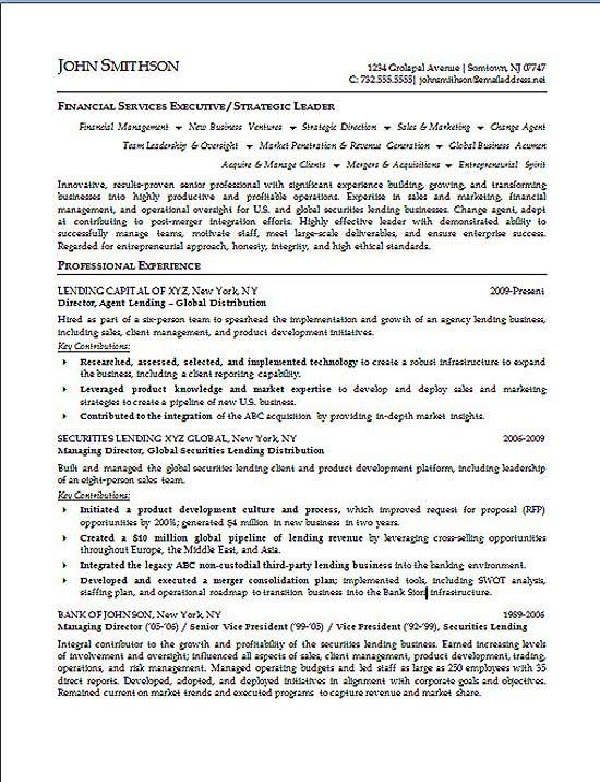 Financial Executive Resume Example Resume examples and Executive - director of finance resume