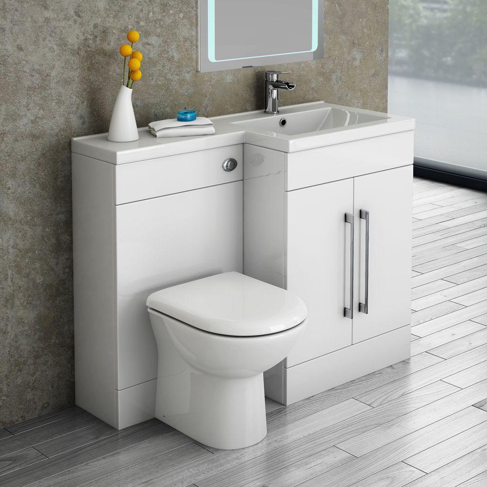 Valencia 1100mm combination bathroom suite unit with basin round toilet