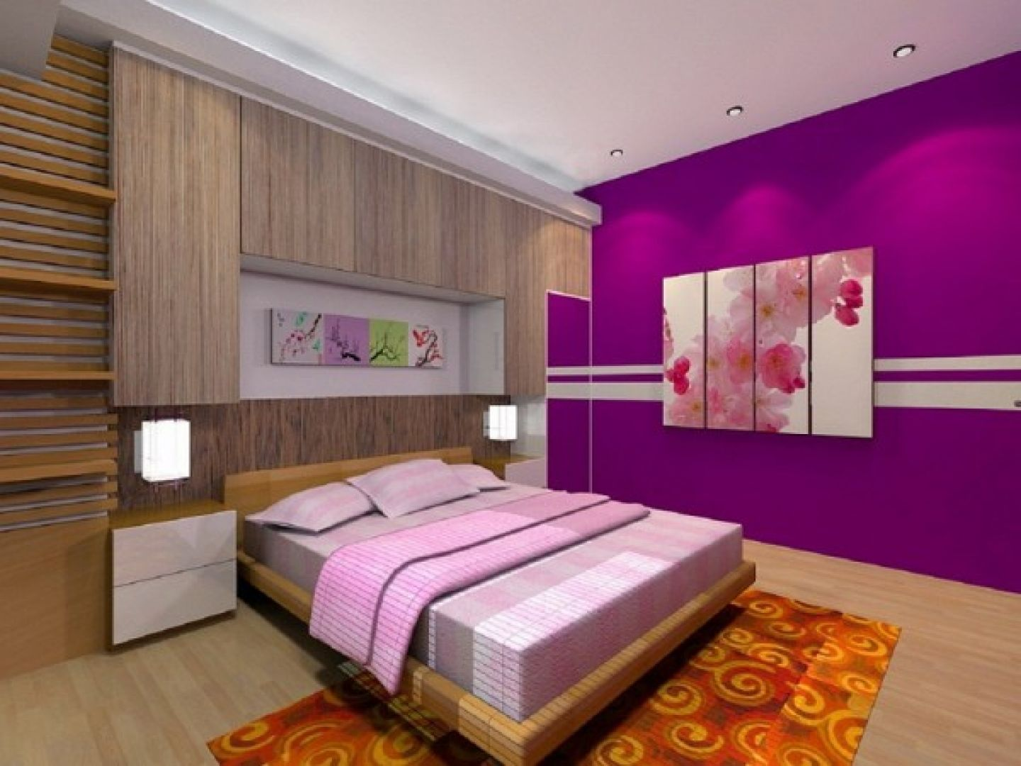 Bedroom cool bedroom design for women in their 20s with purple color schemes and modern